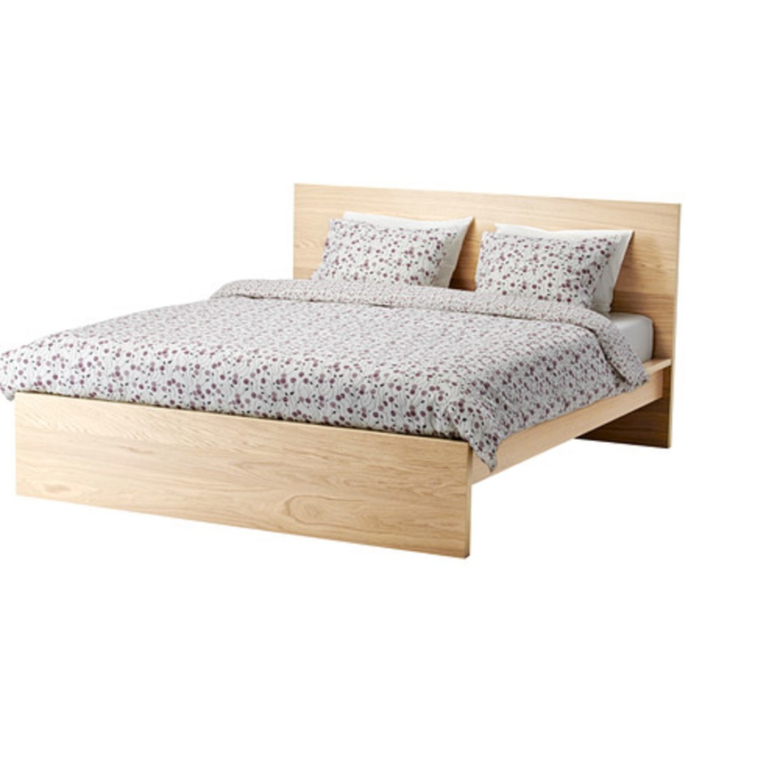 Malm King Size Bed Frame High White Stained Oak Veneer Furniture