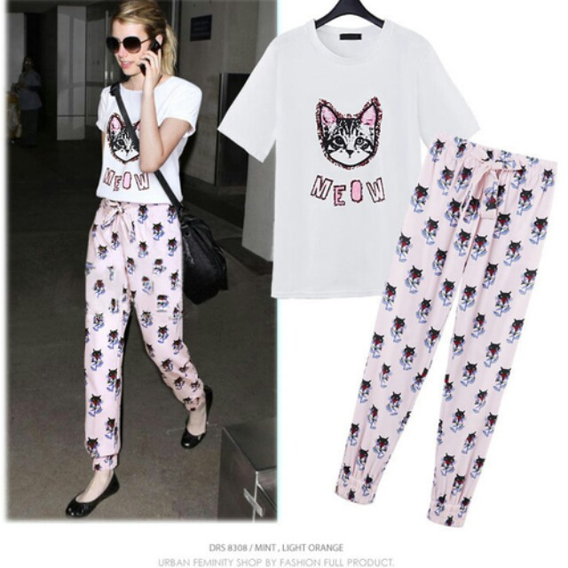 Meow Cat Pattern Printed Shirt and Harem Pants Set