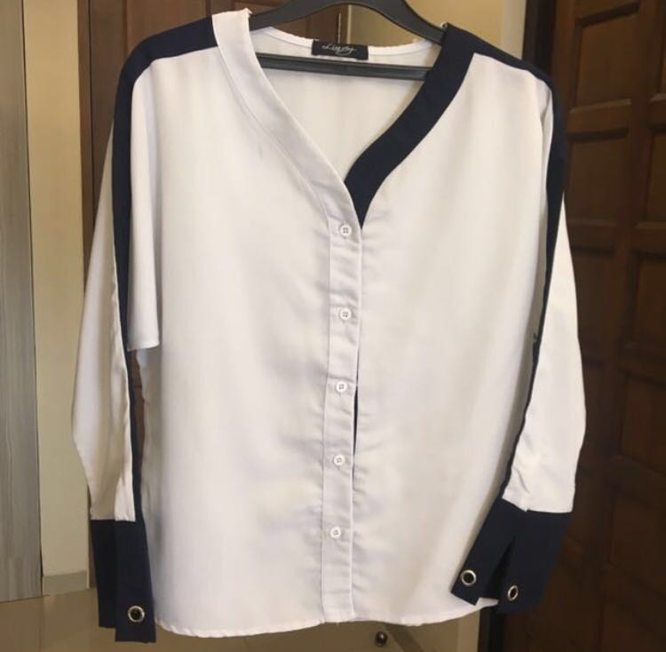 Navy Listed Blouse