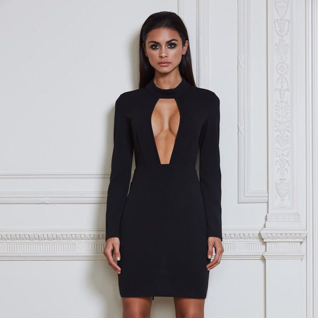 New black longsleeve bodycon dress size small
