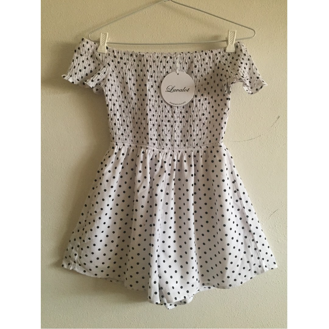 White Lux Boutique Off the shoulder polka dot play suit
