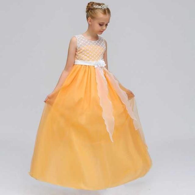 8069cfa5b7b20 Yellow Net Style Dress Long Gown Kids Wedding Dress, Babies & Kids, Girls'  Apparel on Carousell