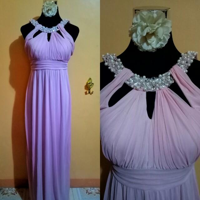 Pink halter empire cut bridesmaid gown