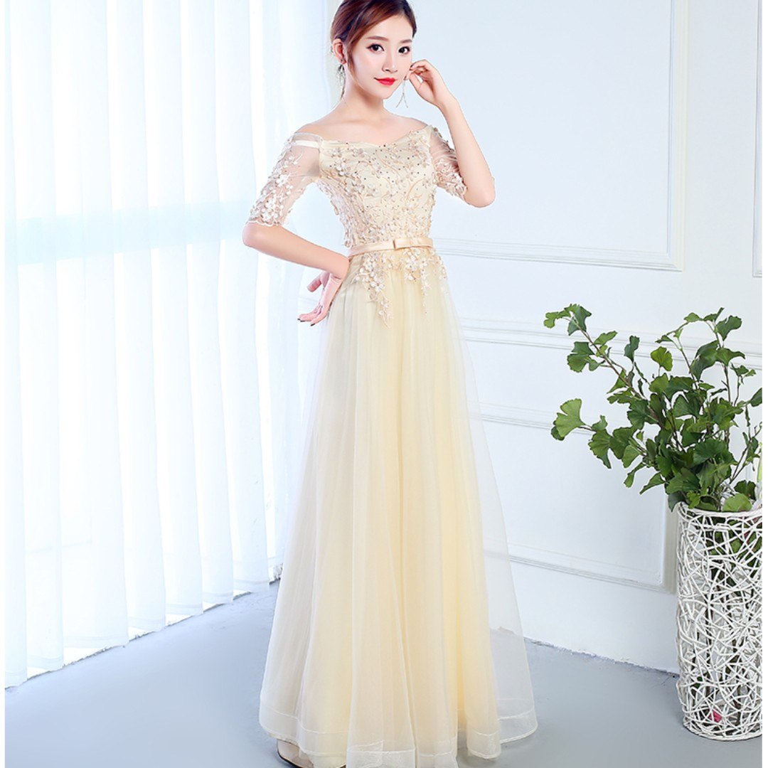 Pre order cream long sleeve off shoulder wedding bridal bridesmaid prom dress gown  RBBD0062