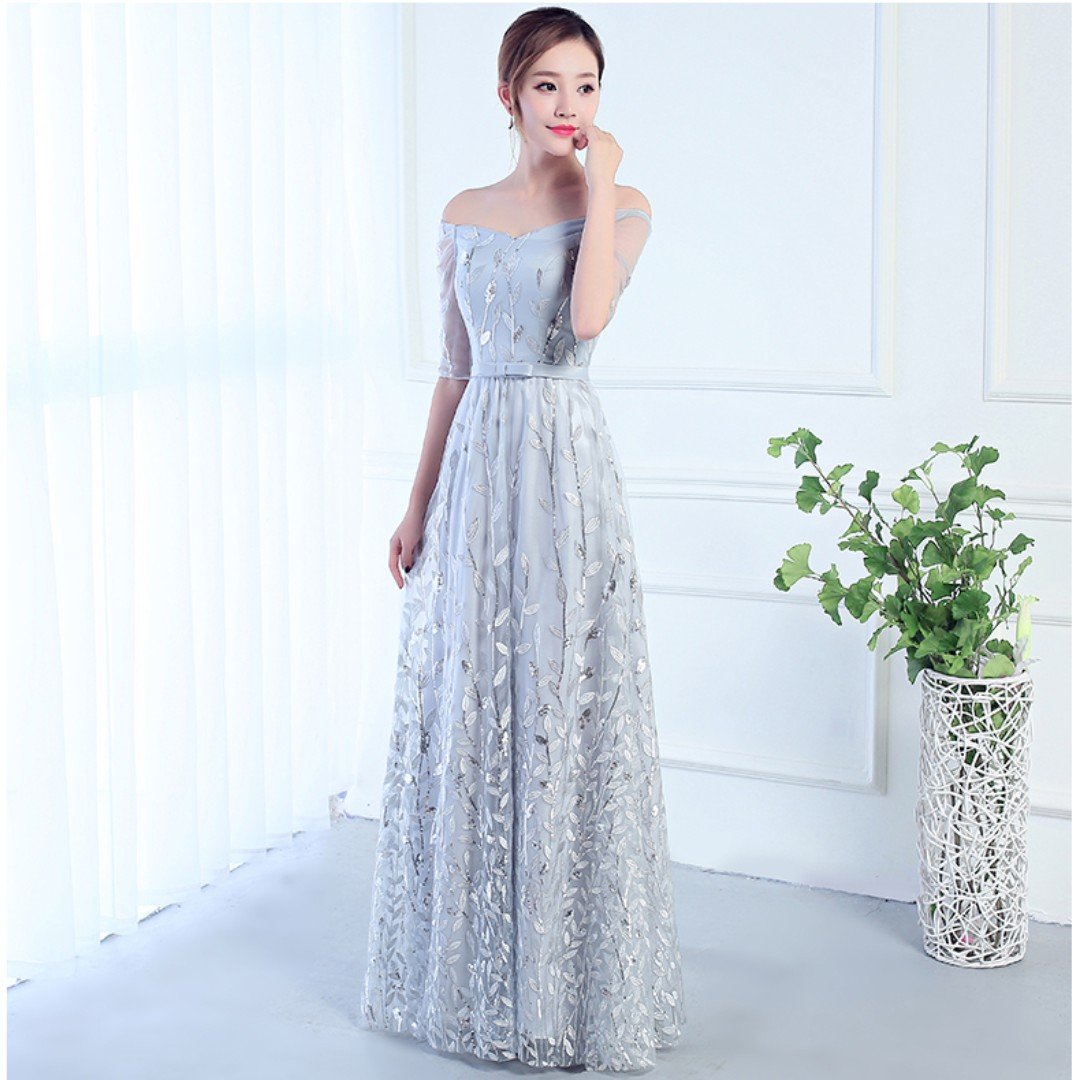 Pre order grey long sleeve sequin off shoulder wedding bridal bridesmaid prom dress gown  RBBD0060