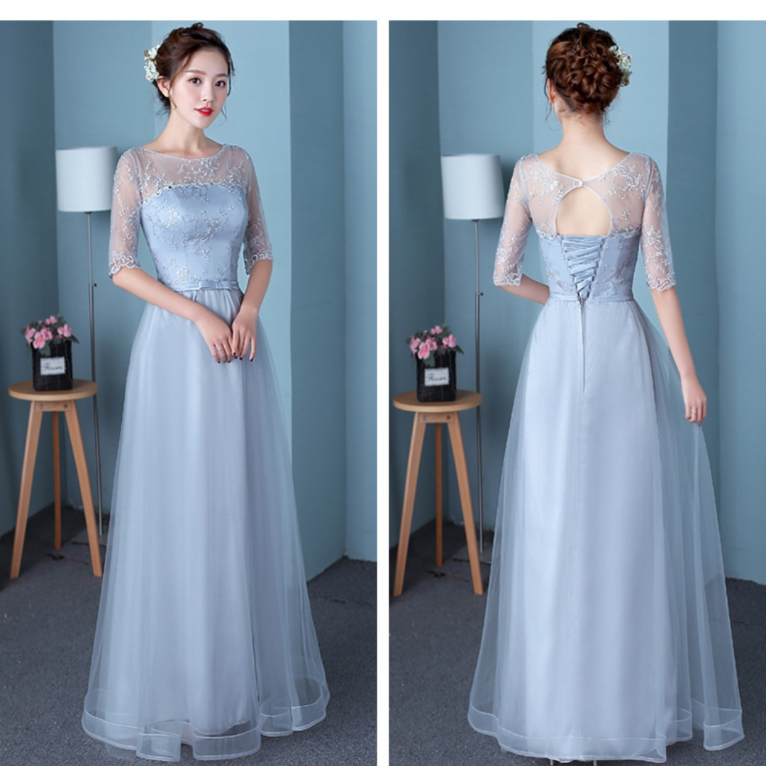 Pre order grey red cream long sleeve off shoulder wedding bridal bridesmaid prom dress gown  RBBD0061