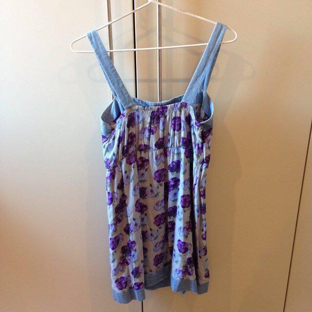Purple and blue floral print cotton dress