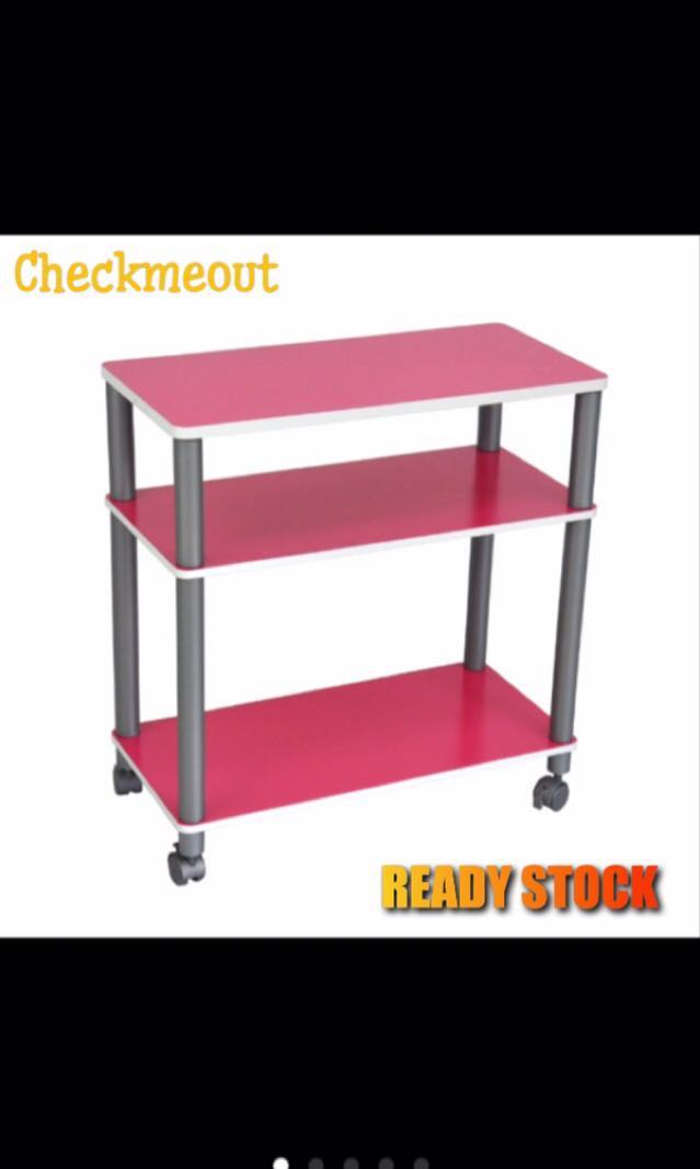 🌈READY STOCK🌈3 Shelves Bookcase with Castors