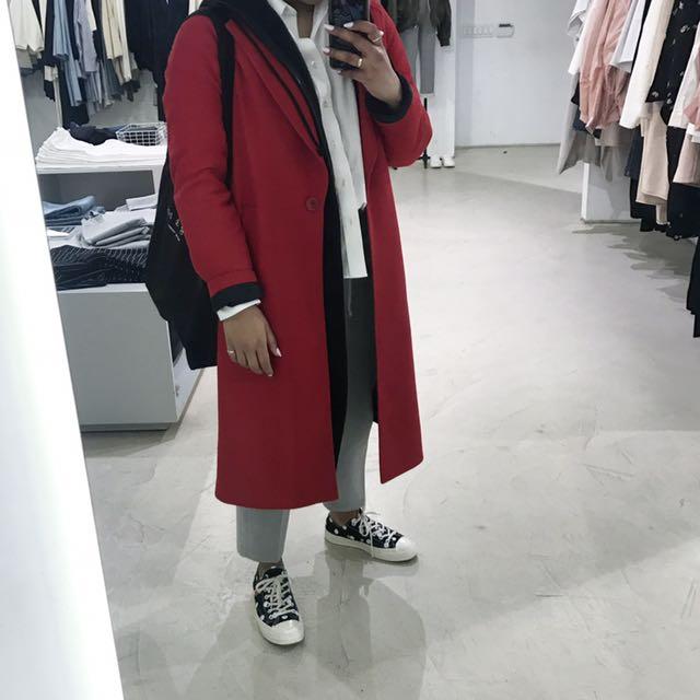Red Zara coat