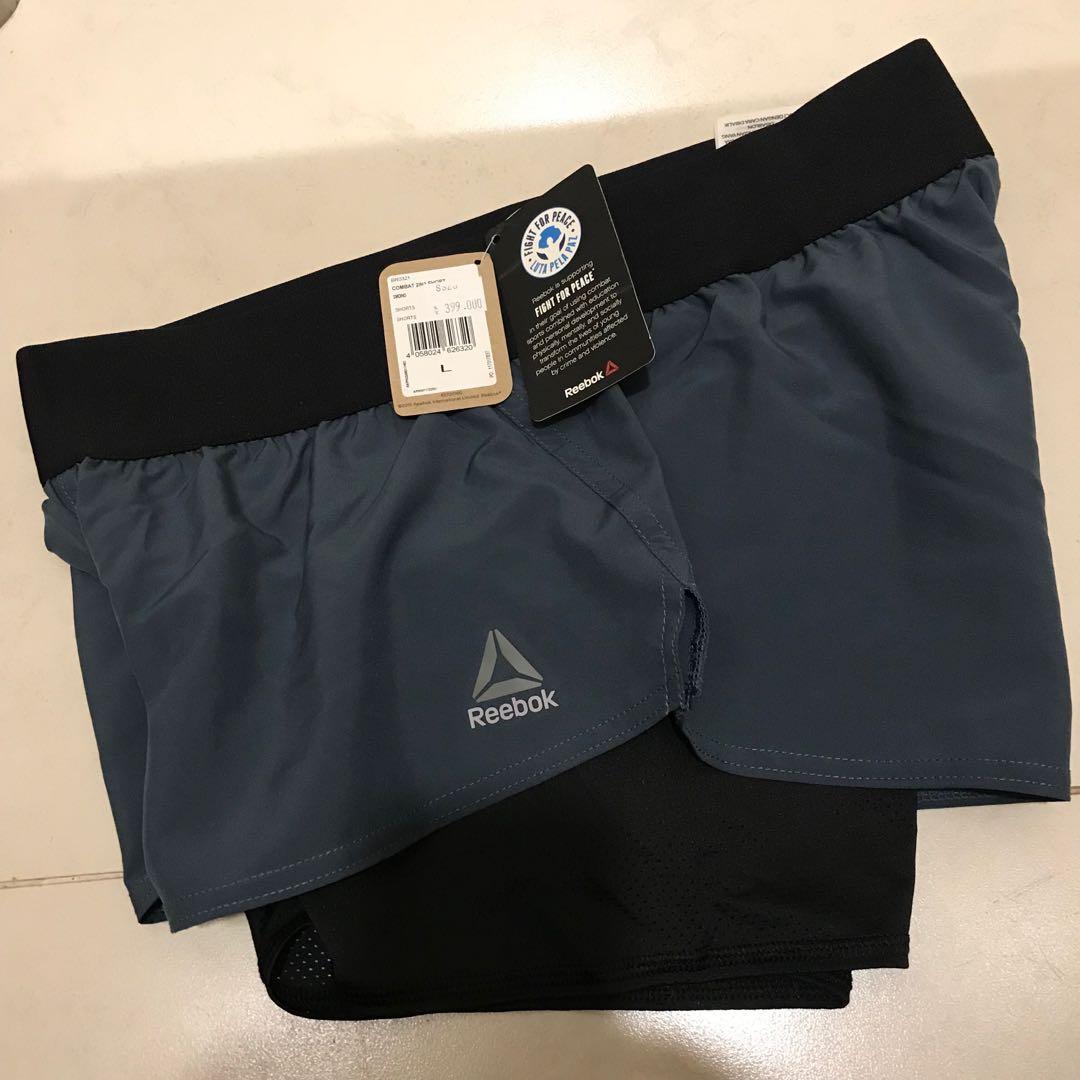 reebok shorts combat 2 in 1 merah atao abu