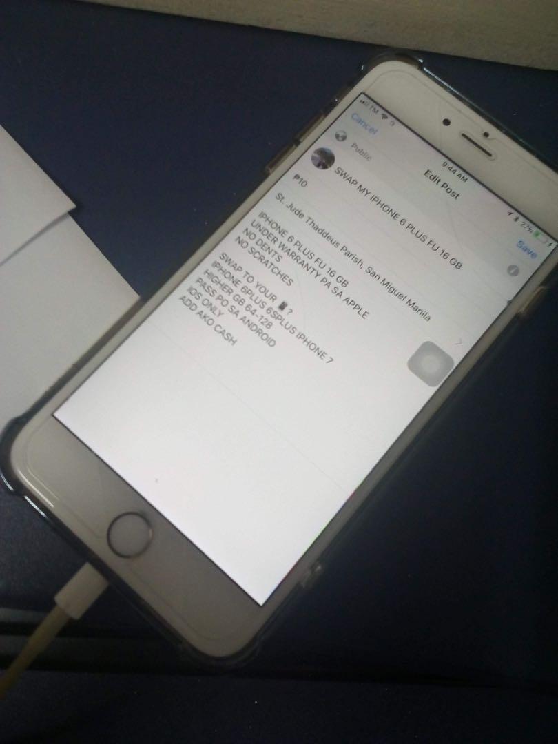 Sale/Swap Iphone 6 PLUS 16gb FU