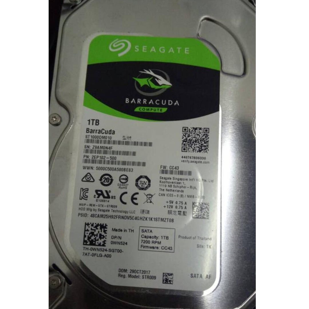 Seagate Barracuda St1000dm010 1tb 64mb Cache Sata 60gb S 35 Hard Baracuda Disk Date Oct 2017 Electronics Computer Parts Accessories On Carousell