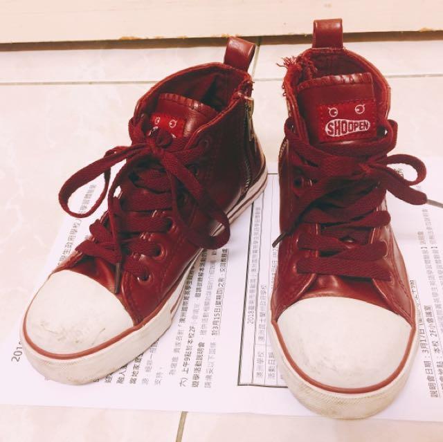 韓國買的shoopen品牌暗紅色高筒鞋 #筒身內側有拉鏈方便穿脫!中性款男女童可穿!