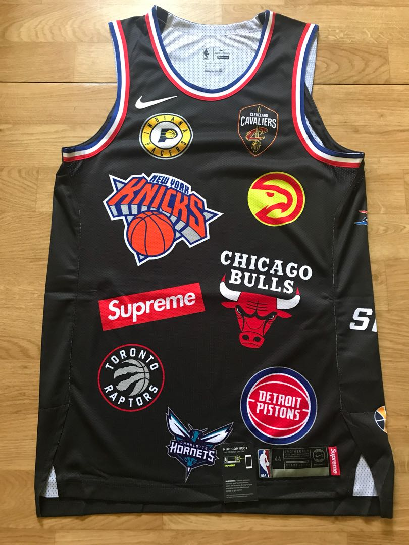Supreme X NBA Basketball Jersey, Black, Size M/44