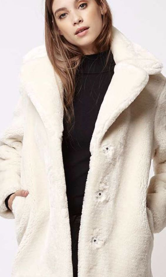 TOPSHOP faux fur teddy coat ( worn once) size US 4