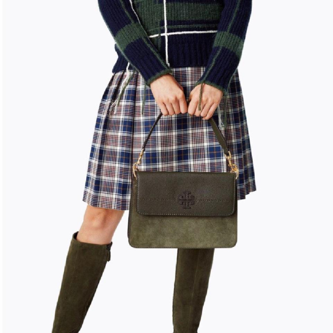 3b3167364f1 TORY BURCH MCGRAW MIXED SUEDE SHOULDER BAG (OLIVE GREEN)