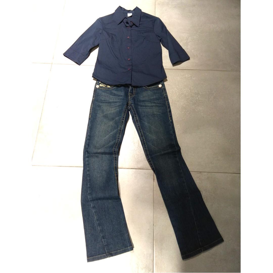 T-PARTS藍色襯衫