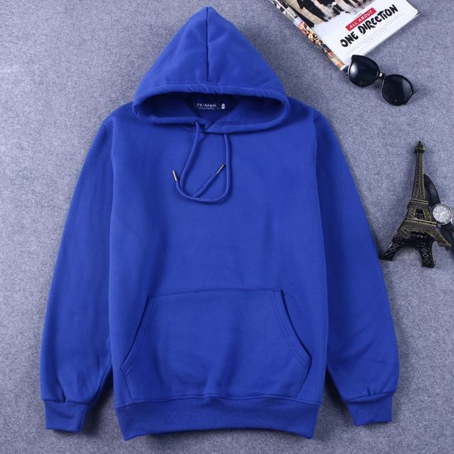 藍色素色連帽T/內刷毛/尺寸XL