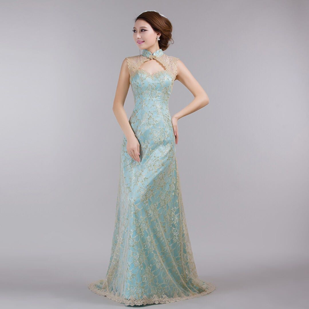 Wedding Gown Rental Prices: Wedding Evening Dinner Lace Cheongsam Gown For Rental