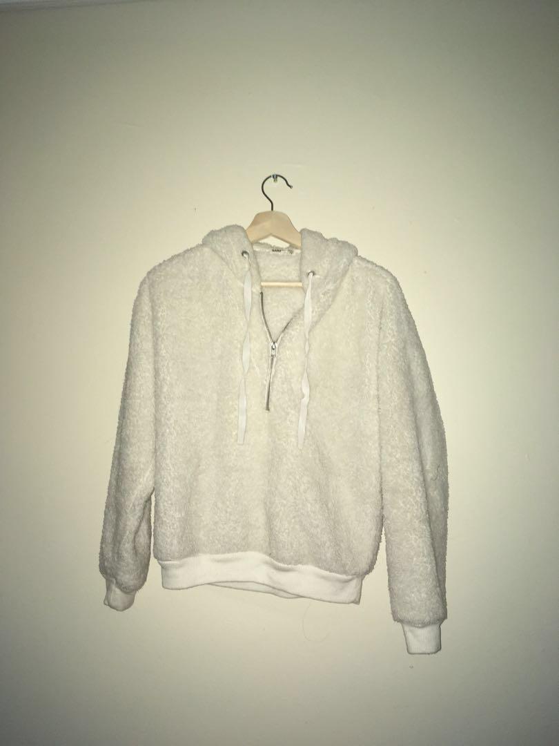 White Soft Cotton Hoodie Sweater