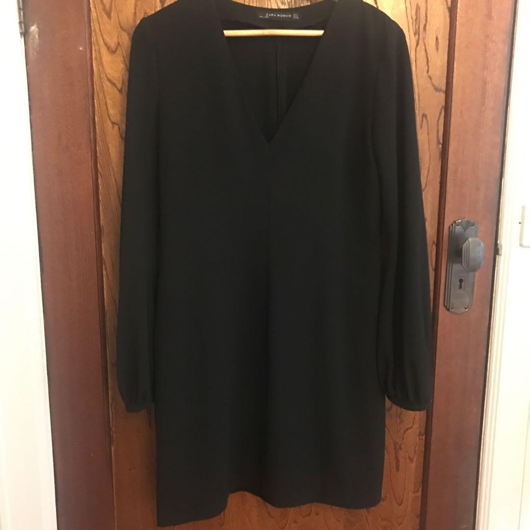 Zara Black Bell Sleeve Dress