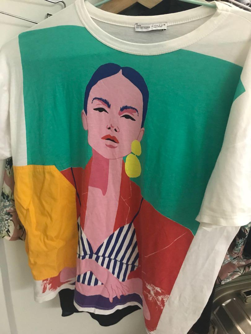 83ed1ebca Zara graphic Tshirt, Women's Fashion, Clothes, Tops on Carousell