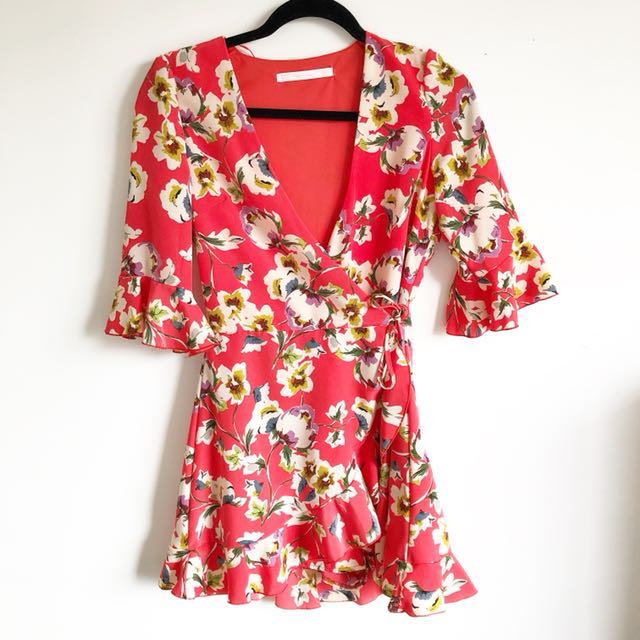 Zara new floral wrap pink red dress XS size 6 8