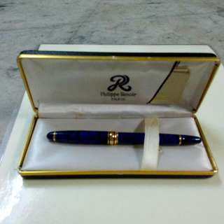 Philippe Renoir Paris Blue Bungundy Marble Lacquer Fountain Pen Vintage