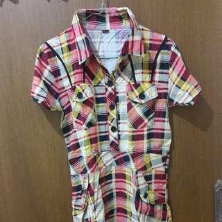 Preloved Mini Dress Kemeja Kotak2 Fit to L Mat Katun Tebel