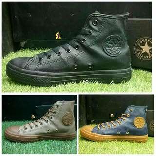 Sepatu converse original asli all star ori tinggi kulit fullblack hitam terbaru murah branded navy