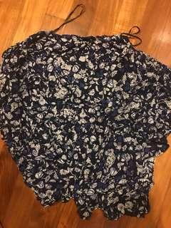 H&M Blue Floral Short Sleeve Kimono