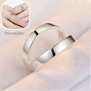 CPR-001 • Couple💖S925 Silver Classic Plain Band Rings • FREE SIZE ADJUSTABLE •