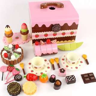 BN Wooden Magnetic Afternoon Tea Chocolate Cakes Biscuits Ice-cream Desserts Party Set