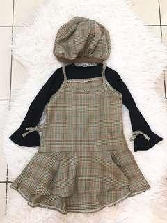 Dress anak 1 set topi