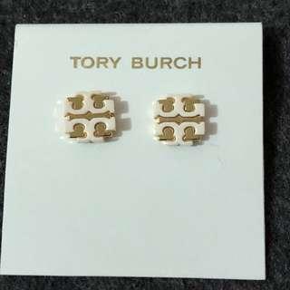 Tory Burch Stud Earrings Gold Base White 金底經典Logo 耳環