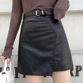 [B270] Irregular High Waist Belted Leather Skirt