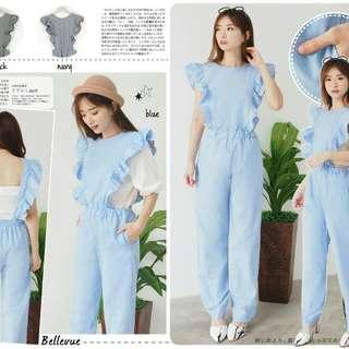 Side Ruffle Sleeveless Jumpsuit 65.000 Bahan cotton denim fit to L tanpa inner