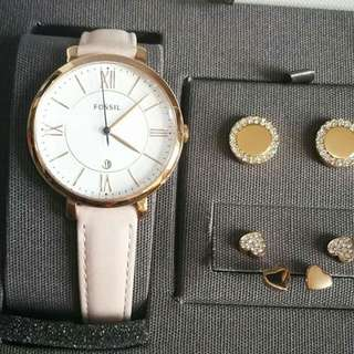 Fossil set watch and earings 💯 original