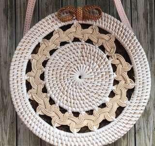 All new! 24cm tas anyaman rotan motif bulan, women hand bag
