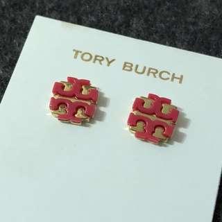 ($168)Tory Burch Logo Stud Earrings Gold base watermelon 經典金底西瓜色Logo 耳環 連盒和塵袋