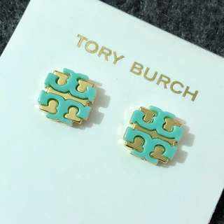 ($168)Tory Burch Stud Earrings Gold base Green 金底綠經典Logo 耳環 連盒和塵袋