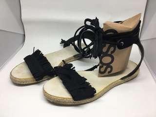 Asos Black Suedette Fringe Lace Up Ankle Strap Canvas Sandals UK3
