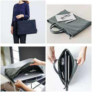 Nylon laptop carrier with cushion (Navy)