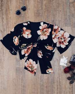 FLORAL KNOTTED COVER UP TOP