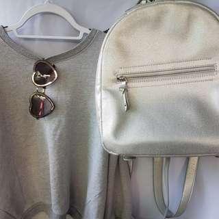 Parfois silver backpack
