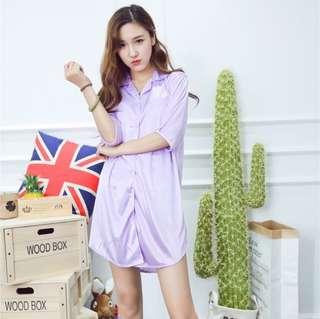 Sexy Loose lingerie Sleepwear Nightwear Pajamas Ice Silk Sleep Dress (Purple)