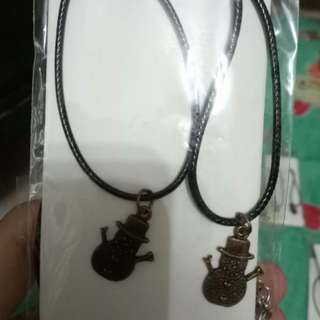 Vintage snowman necklace for couple / sis