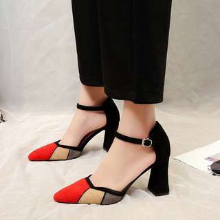 2018 spring new high heels female thick with pointed one-button female shoes with a sense of summer in Europe and America