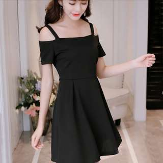 [BN] Korean Strap Bare Shoulder Dress Women Off Shoulder Mini Slim Dress