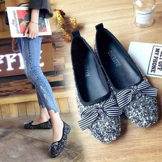 2018 spring shoes shallow mouth flat diamond women's shoes bows feet